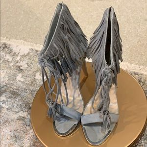 Fringed faux suede ankle strap